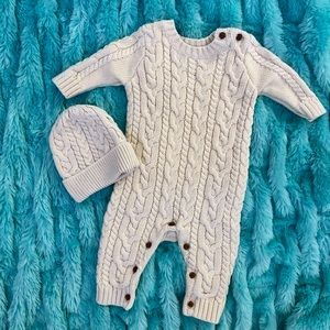 Baby Gap Cable Knit Romper & Hat Gender Neutral